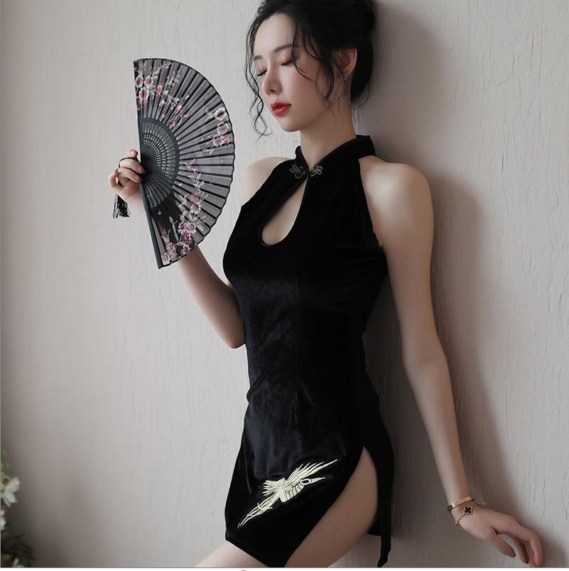 ItZzx Siyu encre sous-vêtements sexy sous-vêtements sexy classique cheongsam République taquinent style Chine cheongsam petit costume dos nu passion poitrine