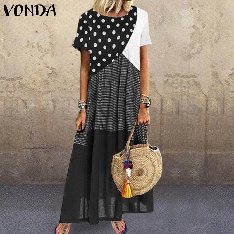 Verano Sundress Mujeres Dot Vestido impreso 2020 Vonda Sexy Patchwork Maxi Vestido largo Vintage Casual Túnica suelta Plus Tamaño Vestidos