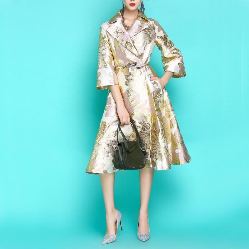 Trench femminile Vintage autunno autunno cappotto invernale donna moda lungo dobby ricamo a vento tuta sportiva 1096