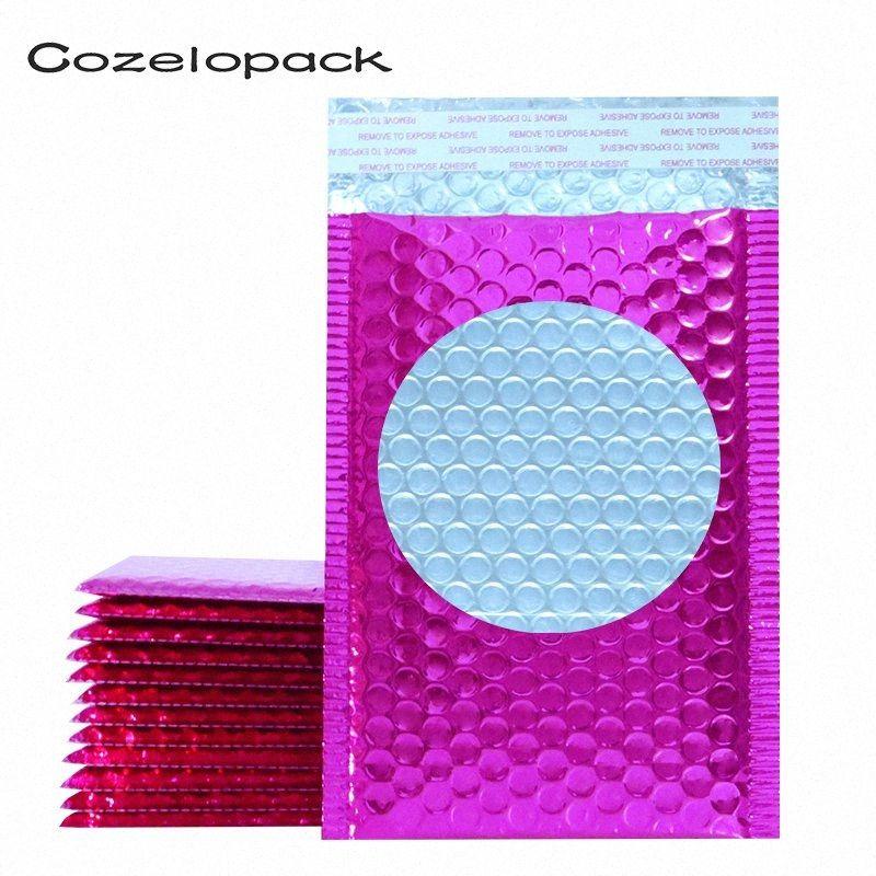 Bolha 20PCS Metallic Mailers-de-rosa da folha bolha sacos Aluminized postais Sacos de presente do casamento Embalagem Envelopes acolchoados envio Q6Oz #