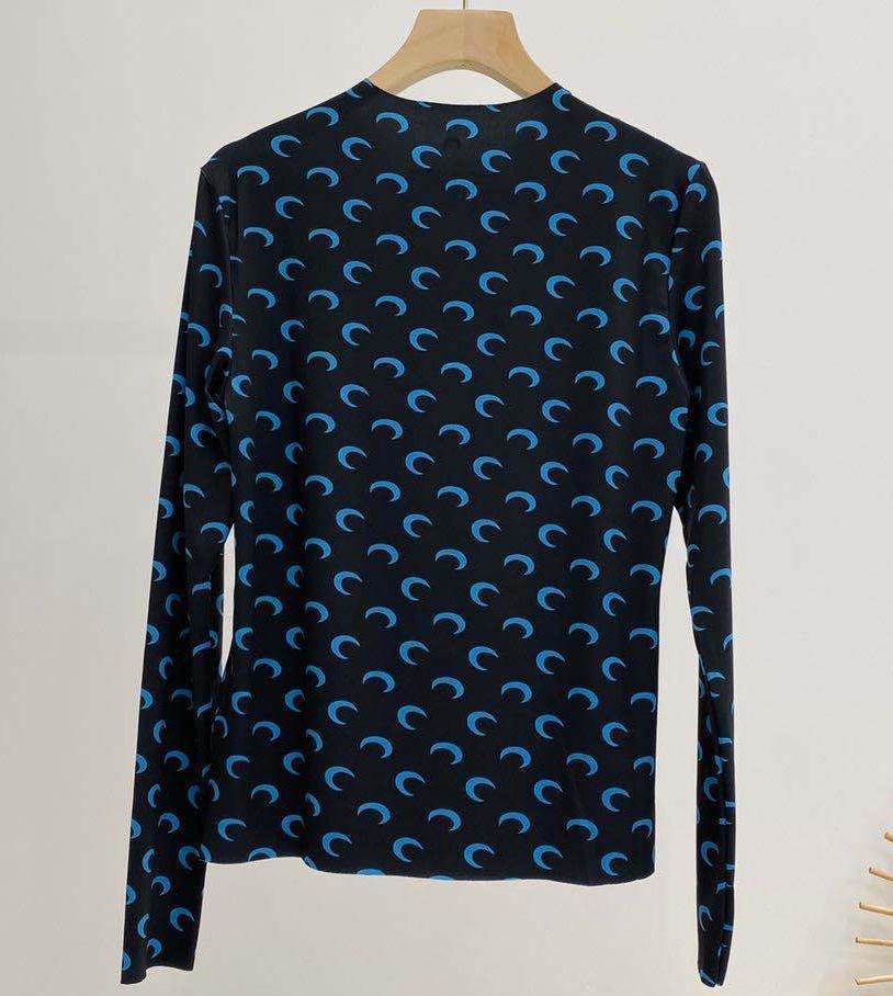20SS Loog Kol Deniz Serre dibe Tişörtlü Kadınlar Yüksek Kalite Çakışan Yarım ay Sıkı En Tees Deniz Serre Kız tişört