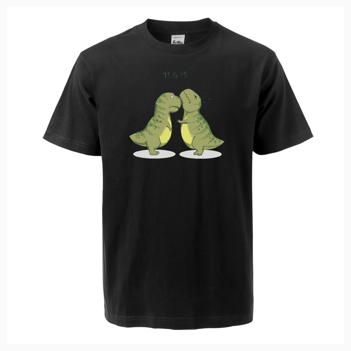 Schöne Dinosaurier Hug Me Print Männer-T-Shirt beiläufige Art und Weise 2019 Sommer-neue Qualitäts-Baumwolle Männer Fitness Plus Size Street
