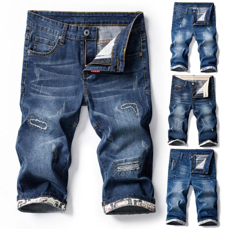 Nuovo tratto uomini shorts in denim Midi Jeans Pantalone corto casuale della mutanda jeans strappati al ginocchio Lunghezza Men Shorts
