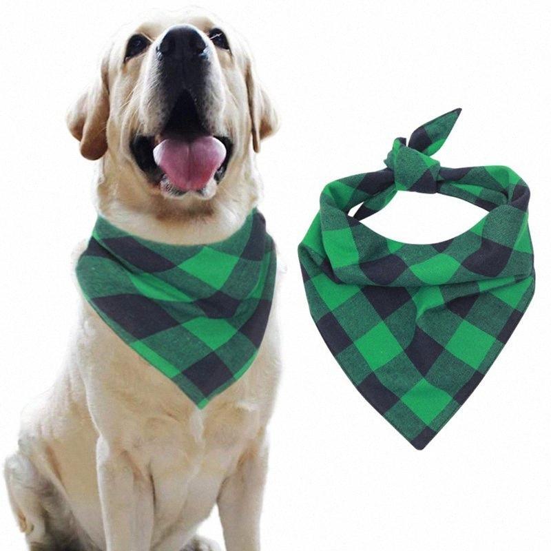 Pet Dog Cotton Scarf Green Plaid Dogs Cats Grooming Accessories Triangular Bandage Collar for Small Medium Large Pet Urhs#