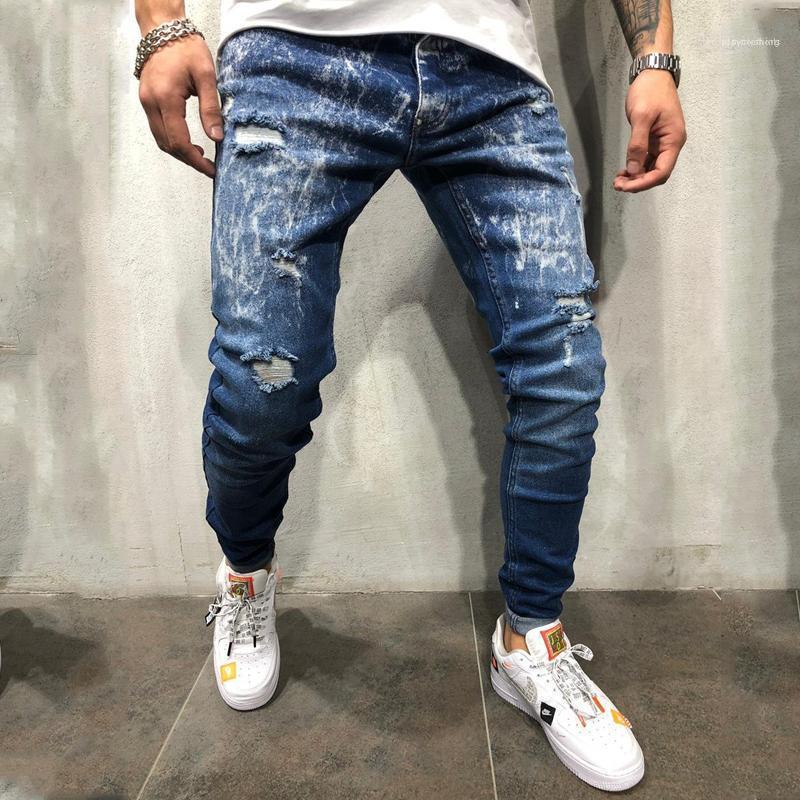 Homem Vestuário Mens Gradiente de cor Designer Jeans Casual Snowflake magro rasgado Calças Lápis 20SS New Hip Hop