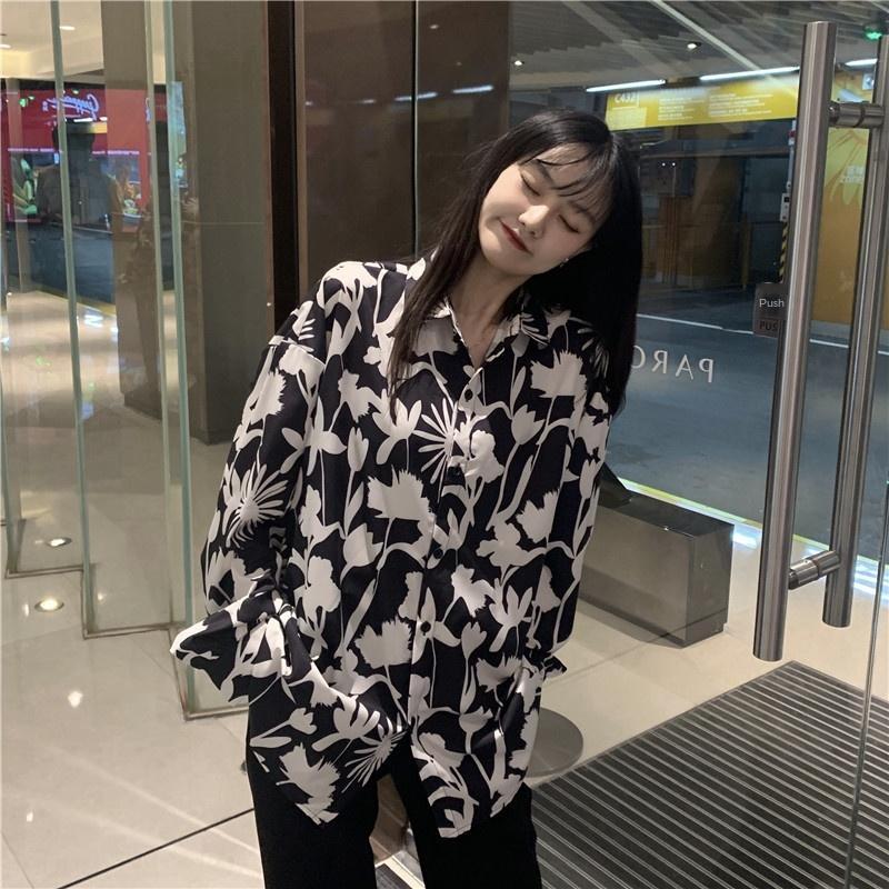 2020 nuovo autunno di stile di stile coreano Hong Kong chic sciolto camicia a maniche sottile floreale lunga shirt da donna bry3r