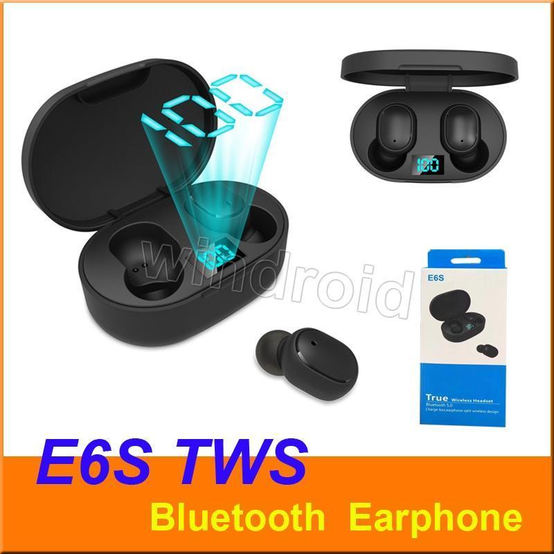 cgjxs E6s Mini Tws sans fil Oreillettes Bluetooth casque Hifi Sound 5 .0 avec double microphone Led affichage numérique écouteurs appairage automatique Casques d'écoute Fo