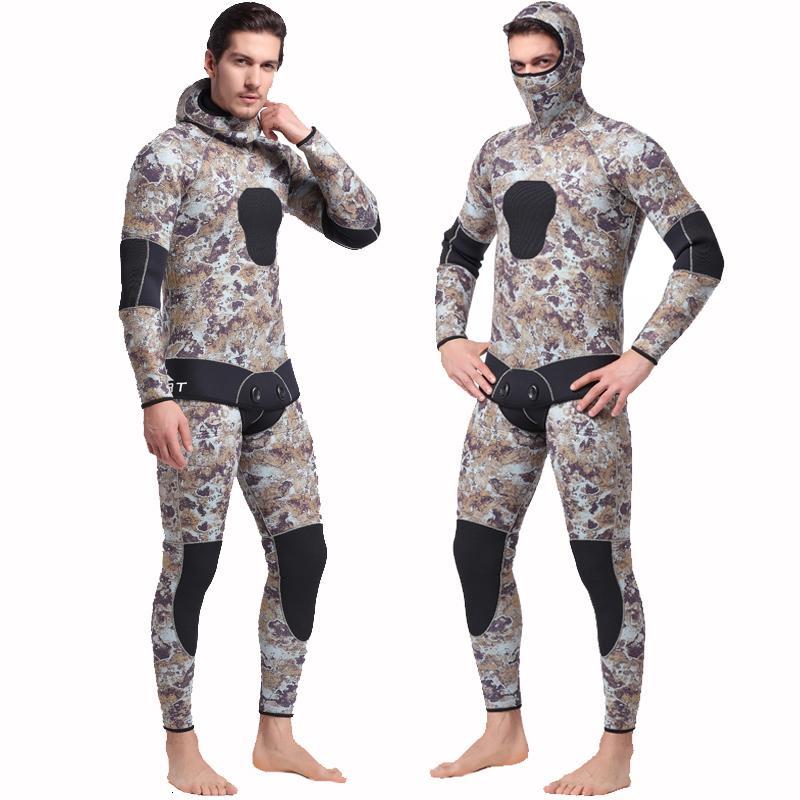 2-teiliges Herren 5mm Camo Wetsuits mit Kapuze für Tauchen Schnorcheln Schwimmen Mimetic Spearfreitauchen Kompletter Anzug Neoprenanzug