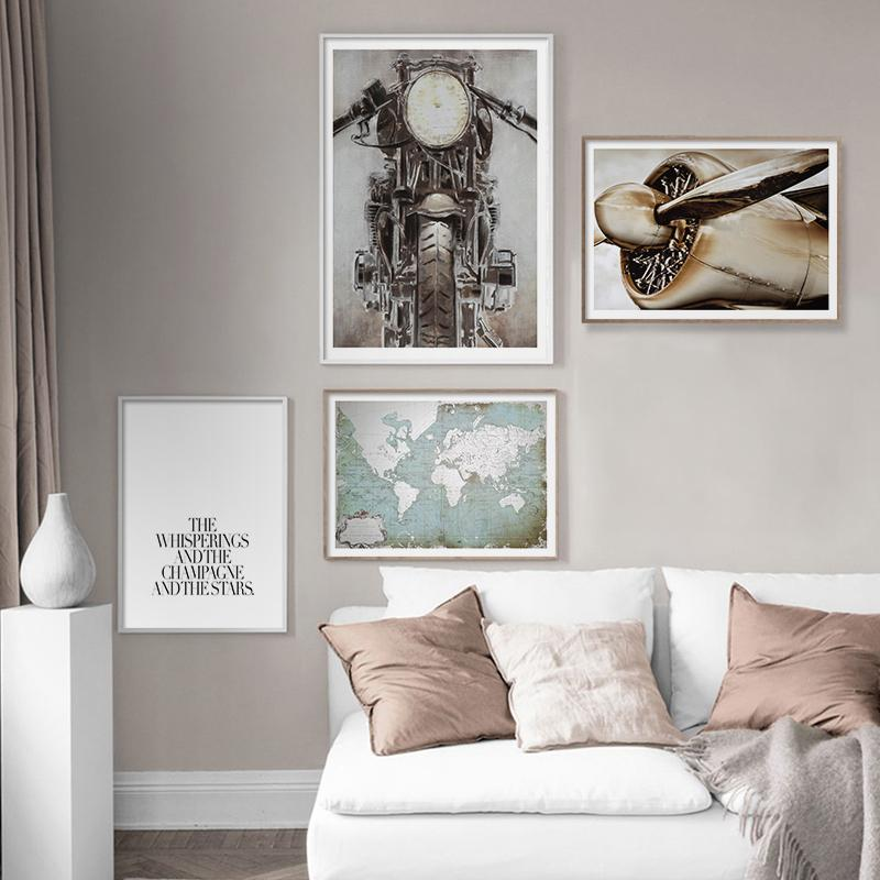 Vintage Shabby Chic Old Fashioned Airplane Motorbike Wolrd Map Quote Poster Art Print Canvas Painting for Wall Decor Living Room