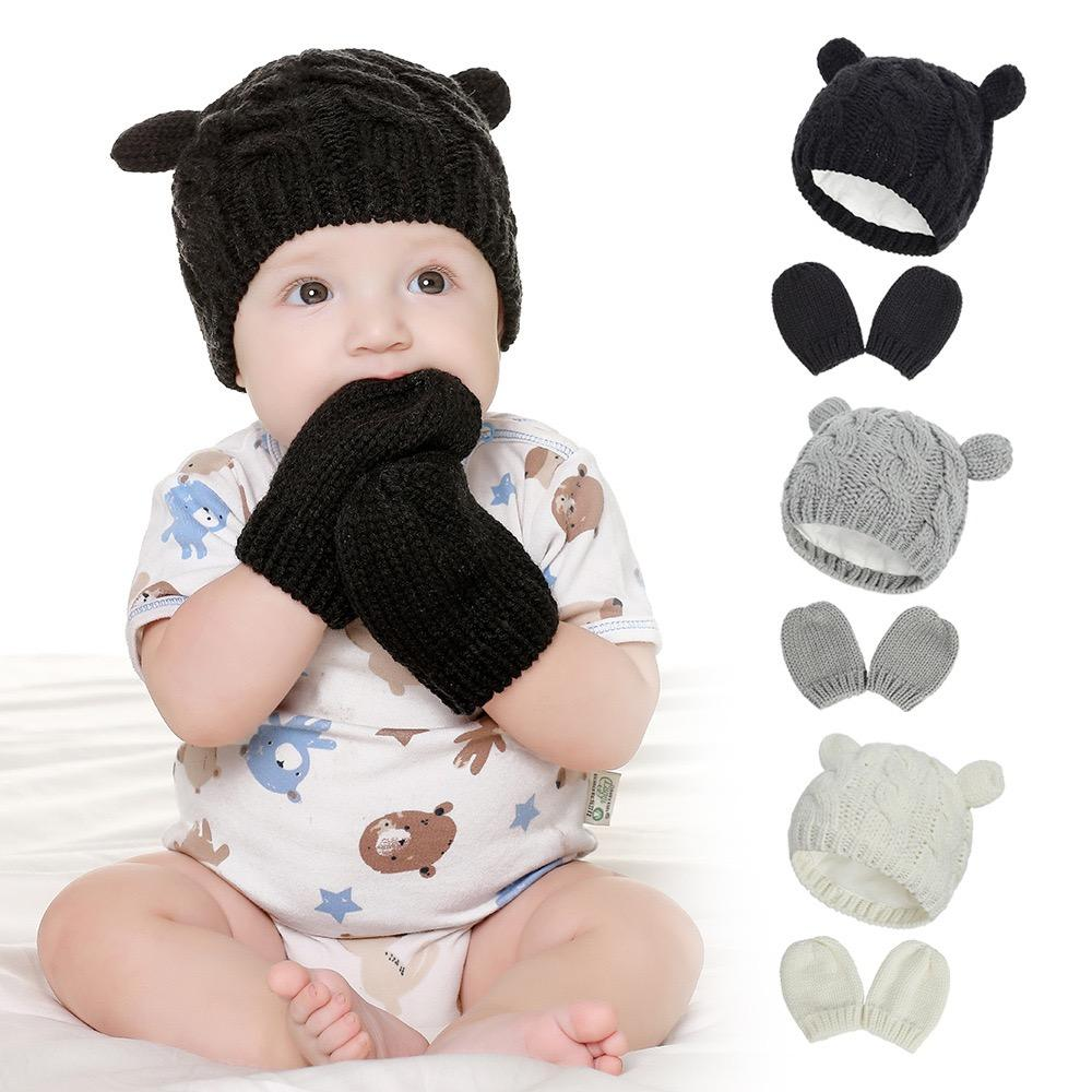 Free DHL New 4Colors INS Baby Kids Boys Girls Beanies with gloves 3Pieces Set Fleece Blank Knitted Winter Children Caps Rabbit Hats for 0-2T