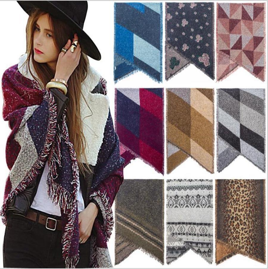 Plaid Couvertures Foulard chaud d'hiver Pashmina Femmes Foulard Châle Wrap Couverture Contraste Cachemire Tassel Châle Grille DDA399