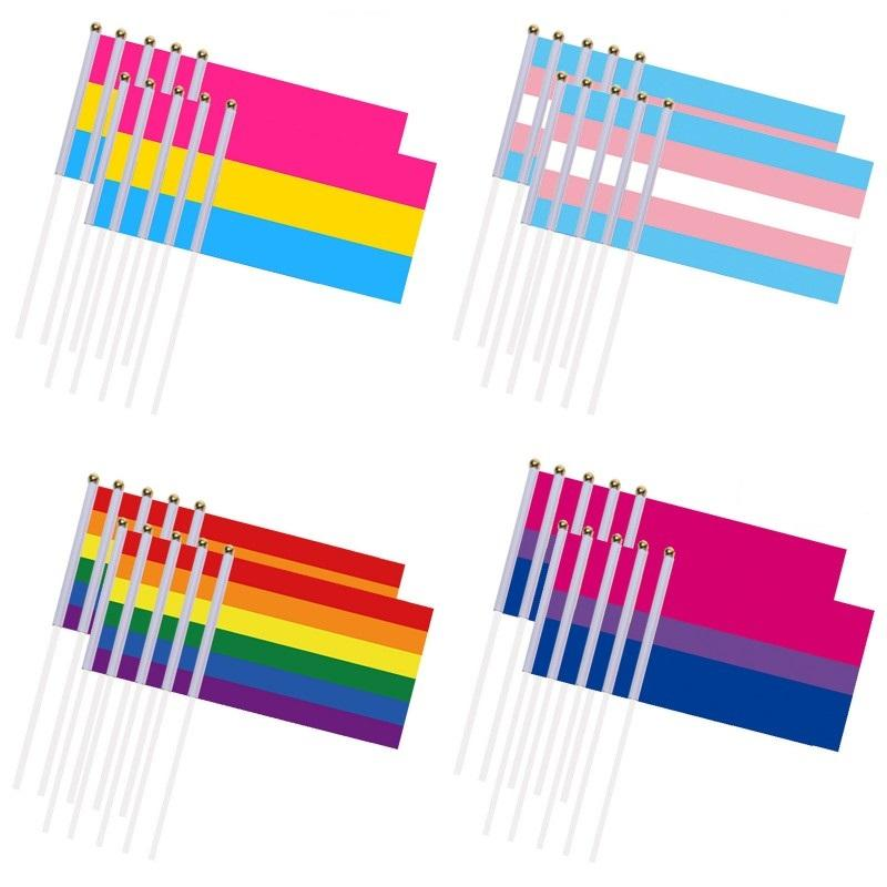 LGBT Banner Полиэстер трансгендеров Besexual Pensexual Флаг 21 * 14см Флаг ЛГБТ Лесбийская Gay Pride Flag Радуга Поставки