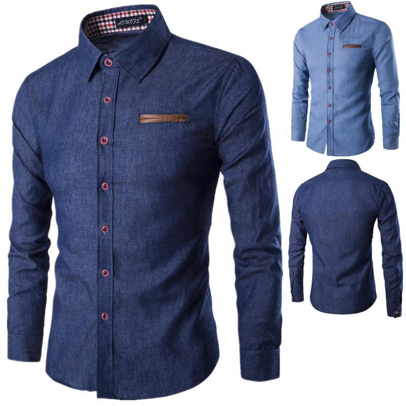 Shirt Männer Tasche aus Leder Baumwolle mit langen Ärmeln 2020 Mode Herren Jeans Hemd Cotton Slim Fit beiläufige Denim Langarm-Fest Shirts