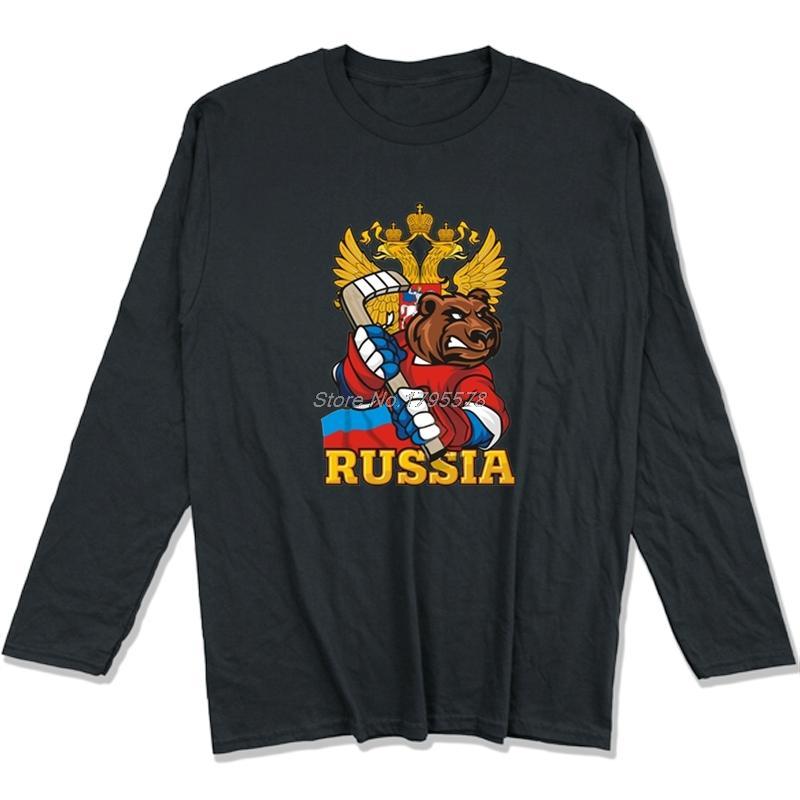 Russische Hockeyer Bär T-Shirt für Männer Tops Männer Baumwolle Langarm T-Shirt Hip Hop Tees Harajuku Street