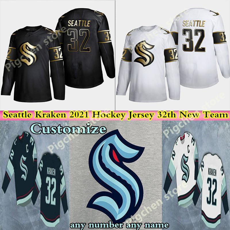 Seattle Kraken Jersey 32th Nuova squadra di hockey Maglie 2021 Stagione Uomo-Donna della gioventù 100% del ricamo cucito pullover camicia di buona qualità