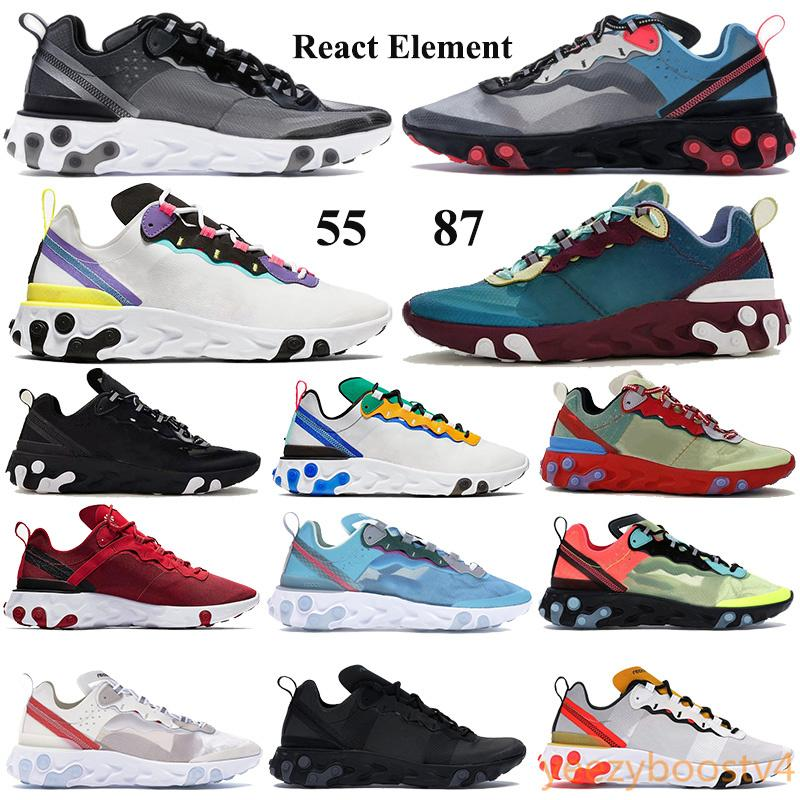 New React element 87 55 Men Women Running Shoes Anthracite Black Red Orbit Trainers Undercover gold blue red green blue Sneakers EUR 36-45