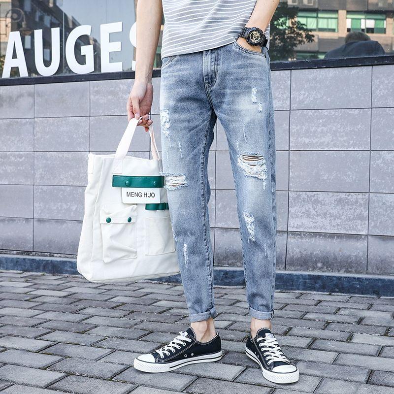 1AMTN hcsTt Jeans der Männer dünnes Jeans Frühjahr neue Art und Weise fit Mode und Hosen der Marke Männer lässig knöchellangen Hosen für Teenager koreanische Tro