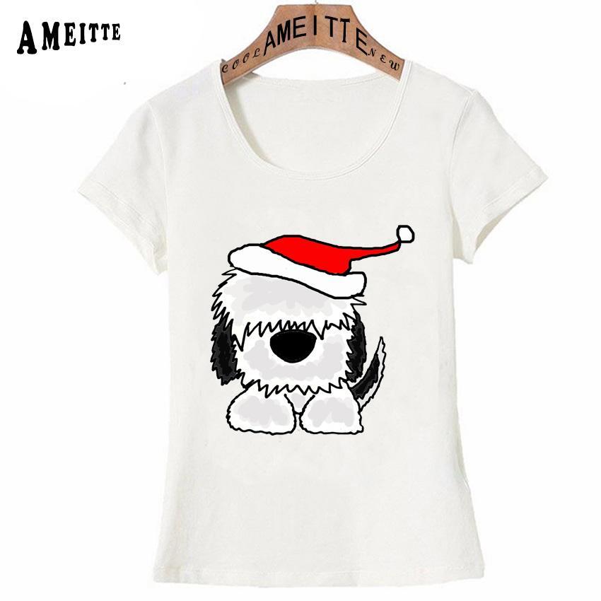 Arte de Natal velho adorável Inglês Sheepdog T-shirt Summer Fashion Women T Shirt Girl Casual Tops brancos bonitos Ameitte Tees