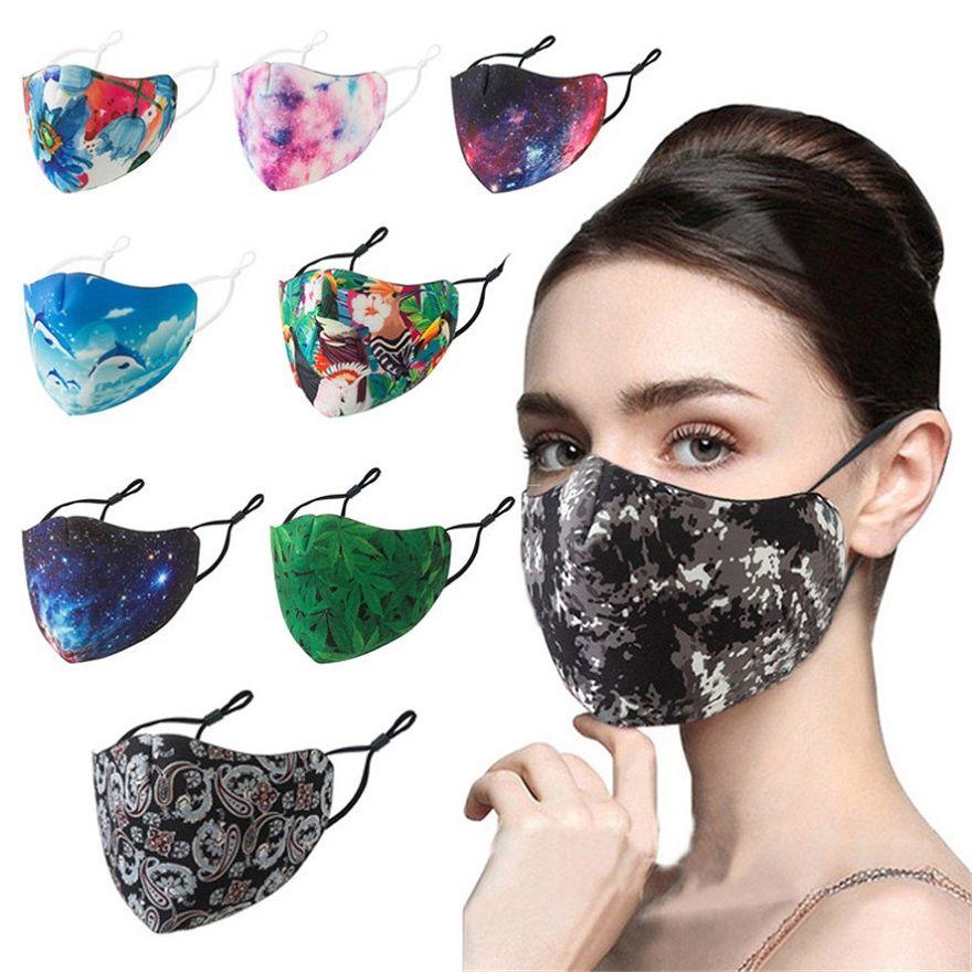 mascarilla hebillas ajustables del oído adulto anti-niebla y máscaras caliente-venta de la moda reutilizables protector solar a prueba de polvo lavable y transpirable máscaras
