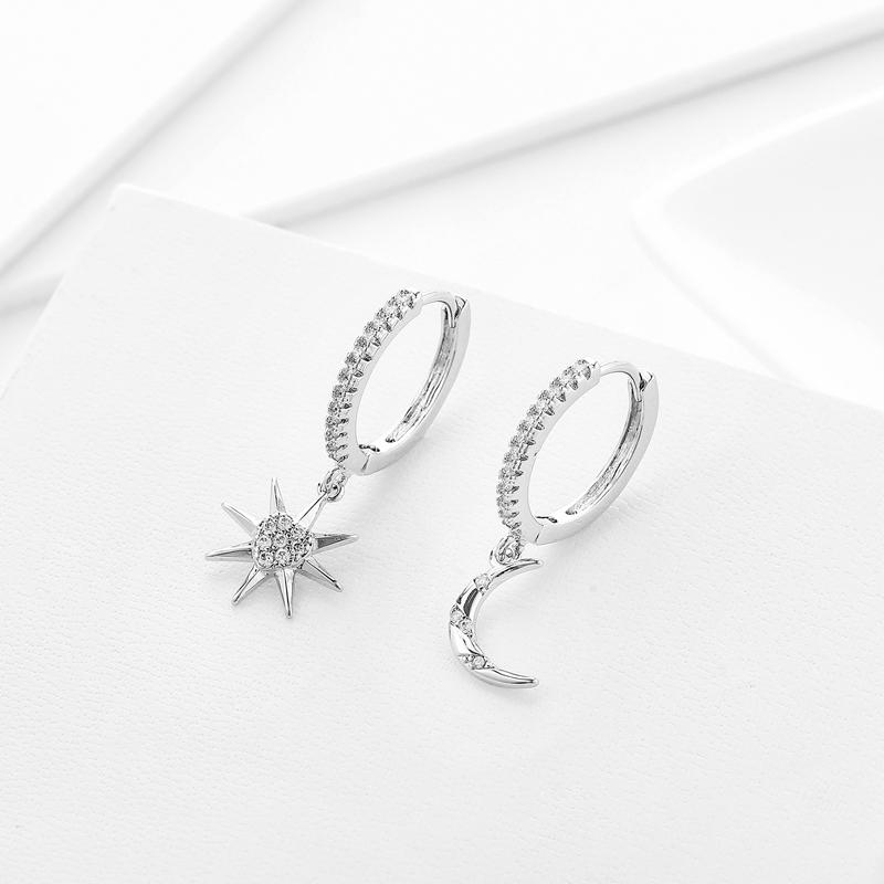 Gioielli Fashion Star Heart Gold orecchini Hiah qualità sveglia di cristallo della stella della luna cerchio orecchini per le donne Love Girls regalo 2020