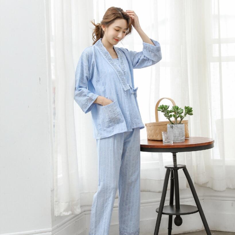 Mesdames coton des femmes des solides manches longues Pyjama Lingerie de nuit de style Kimono Pijama Mujer femmes 3 nuit Piece