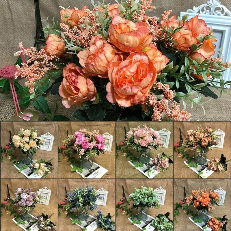 5 глав искусственного искусственного Поддельные пион Шелковые цветы Люкс Гортензия Главная Свадебный Декор сада 9Jit #