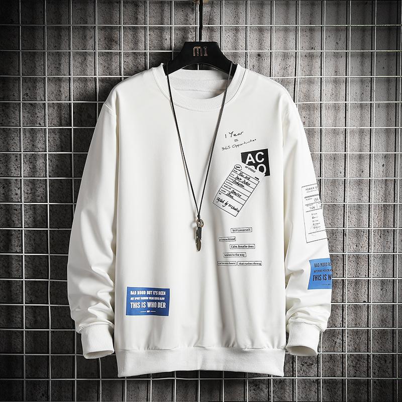 Mode Marque Noir Blanc Hoodies 2020 Hip Hop Printemps Automne Sweat-shirts loose Hommes Casual Punk Vêtements Streetwear
