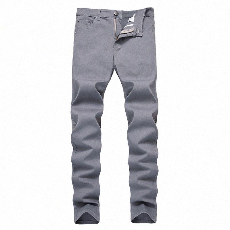Kot pantolon büyük beden erkekler kot pileli patchwork gri kot dört mevsim gündelik ince beden cF5h #