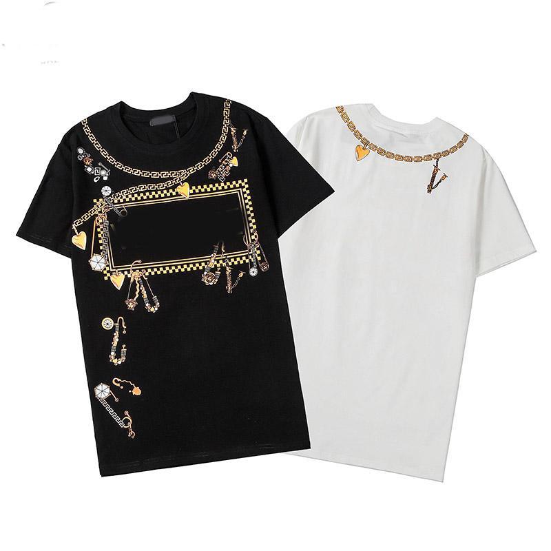 T-shirt d'été Designer Shirt Men Casual Blanc Noir Taille S-XXL coton mélangé col rond manches courtes Cartoon Imprimer