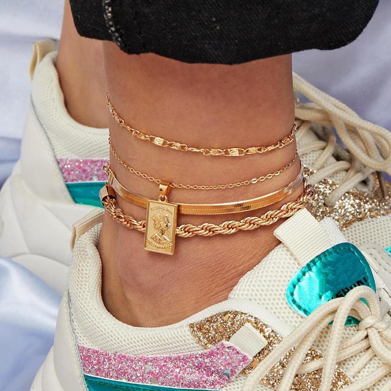 4PCS مجموعة الذهب صغيرة روز بوهو الخلخال للمرأة متعدد الطبقات مزين سلسلة سحر سوار خلخال القدم مجوهرات Tobillera