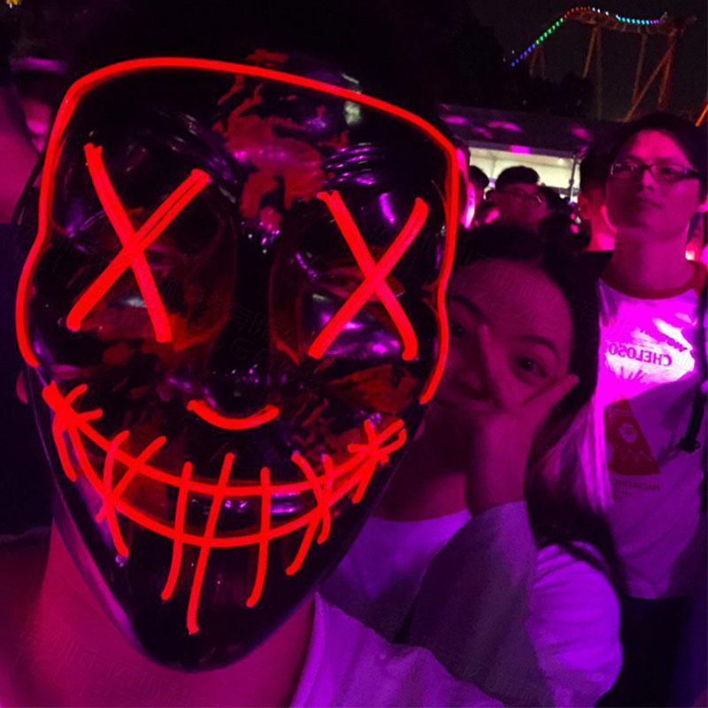 Бесплатная доставка Хэллоуина светящихся масок черного V-образный ужас крови LED маска призрак лица EL флуоресцентную атмосфера реквизит F0203