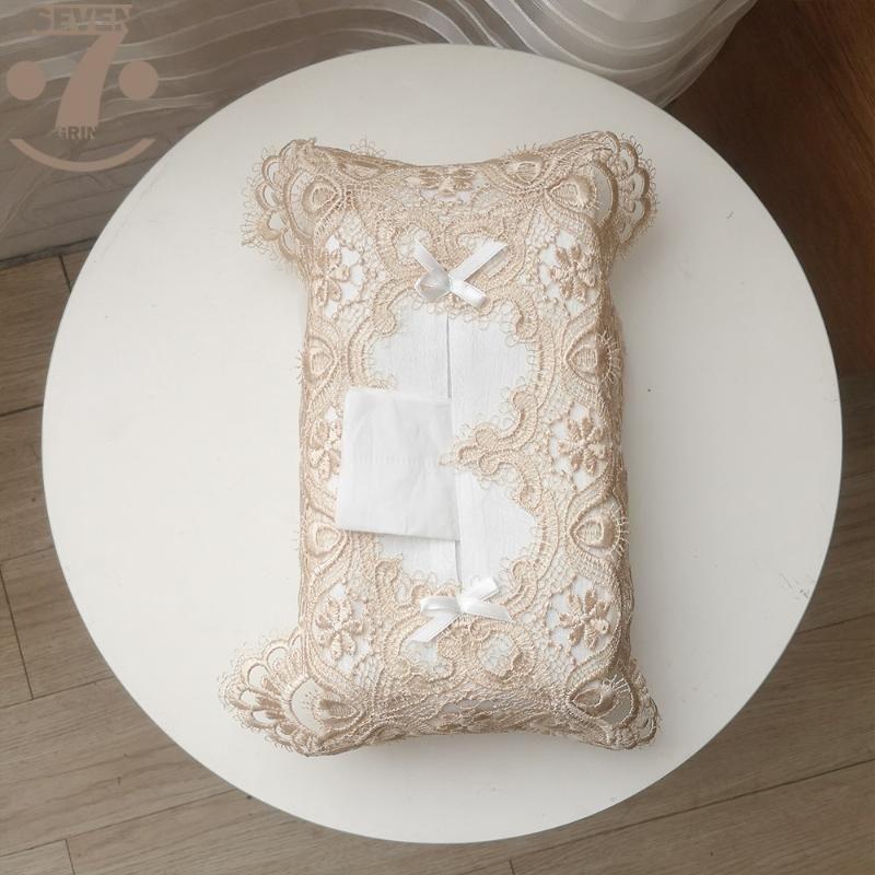 Boîtes de tissus Serviettes NIVERS Vintage Style européen Blanc / Café Bells de Noël Boîtiers brodés de la dentelle pour une grande boîte