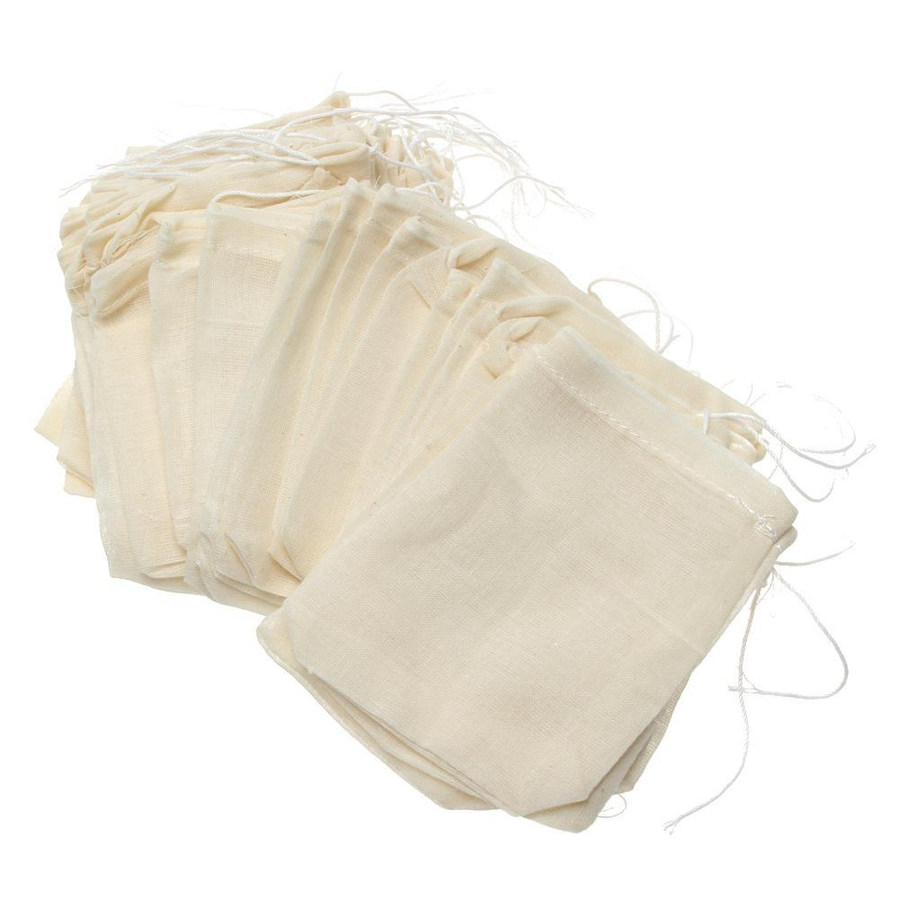 Vendita calda 100pc portatile 8x10cm mussola di cotone riutilizzabili coulisse sacchetti dell'imballaggio sapone di bagno Erbe Filtro