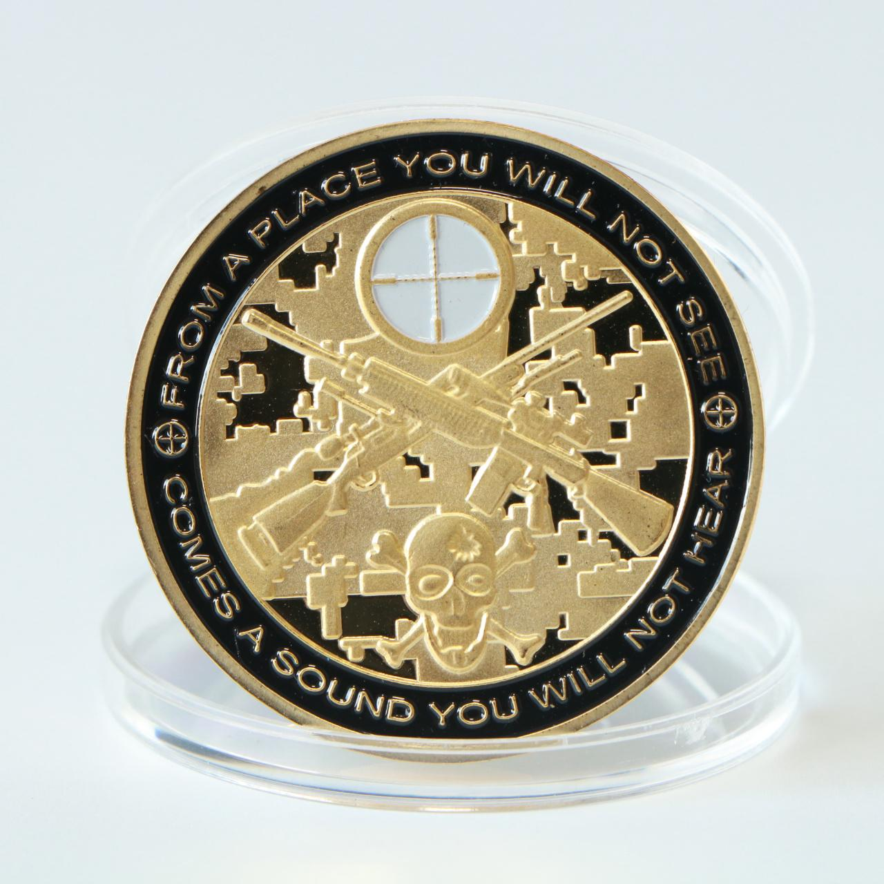 "Gold Plated Metal Coin ""You Can Run But You Will Only Die Tired ""U.S. Military Sniper Challenge Coins Collectible Gifts"