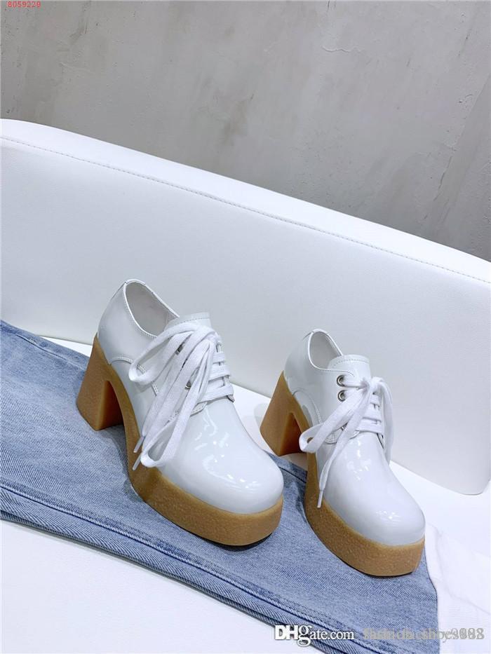 Frauen Lackleder Schuh-Absatz-Low-Top-Stiefel Fashion Chunky Stiefel 75mm mit Gummisohle Schuhe mit original Box 35-40
