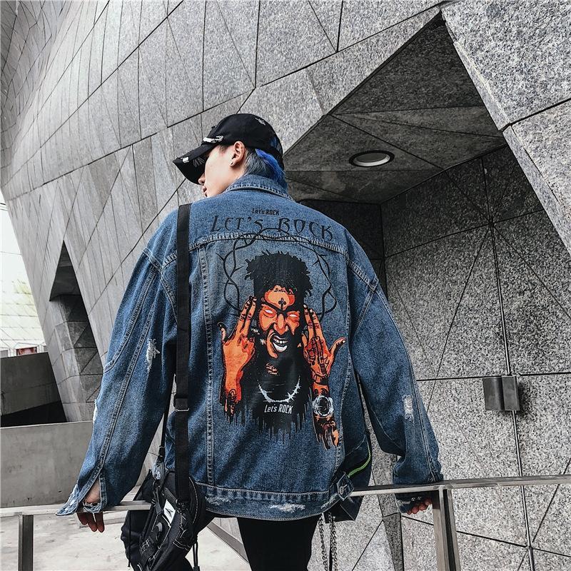 2019 moda impresso Rua dos homens denim top cardigan Hip Hop IsOSl New casaco Casaco