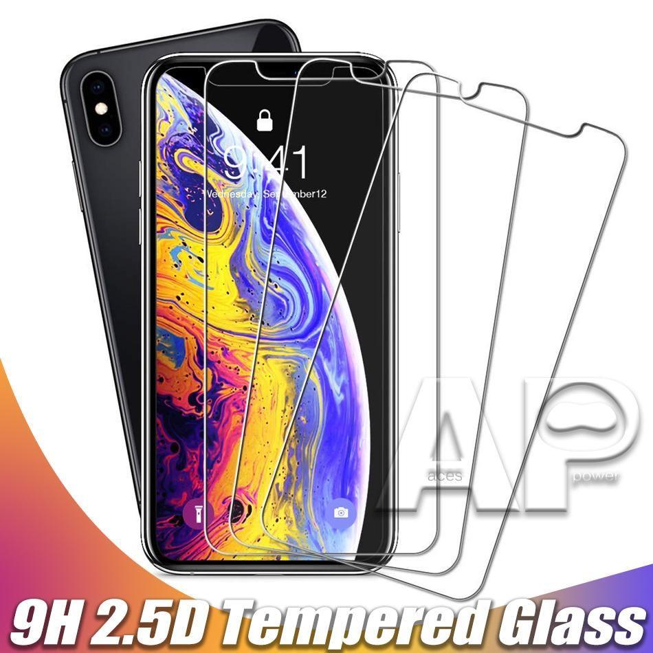 Écran Cgjxs en verre trempé protecteur pour nouvel iPhone 11 Pro Xr Xs Max X 8 Plus Samsung Galaxy S9 Lg V20 Zte Sans Paquet