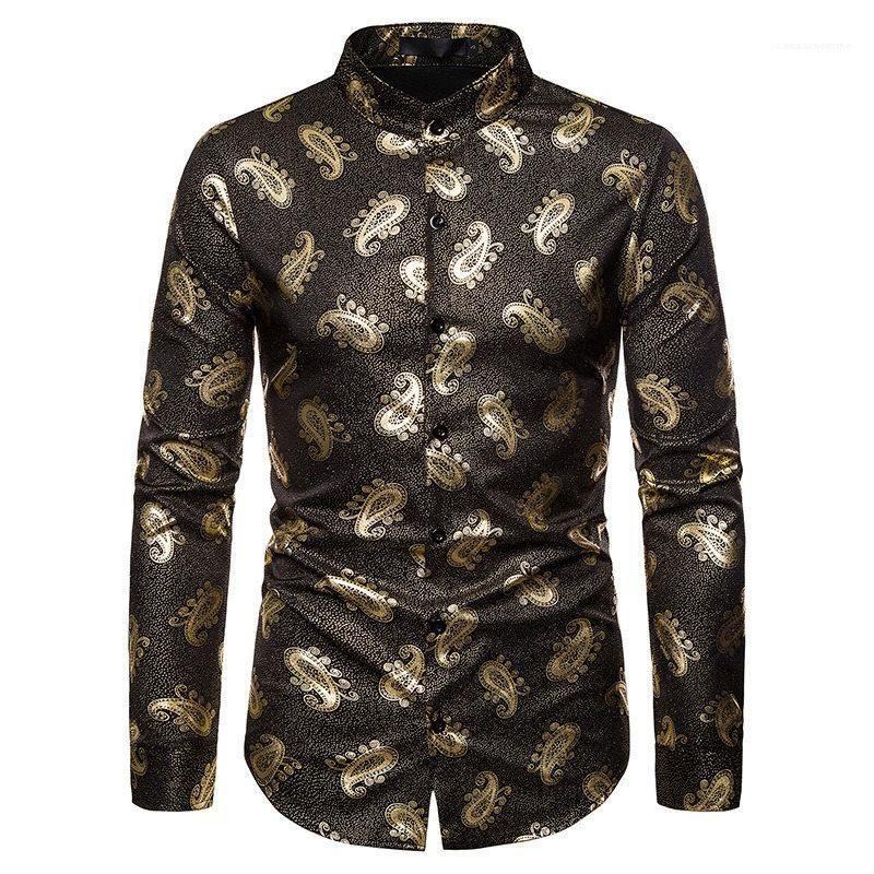 Kleidung Mode Stile Homme toppt Paisley Herren Designer-Hemd Luxuxgold Mens-beiläufige Drucke