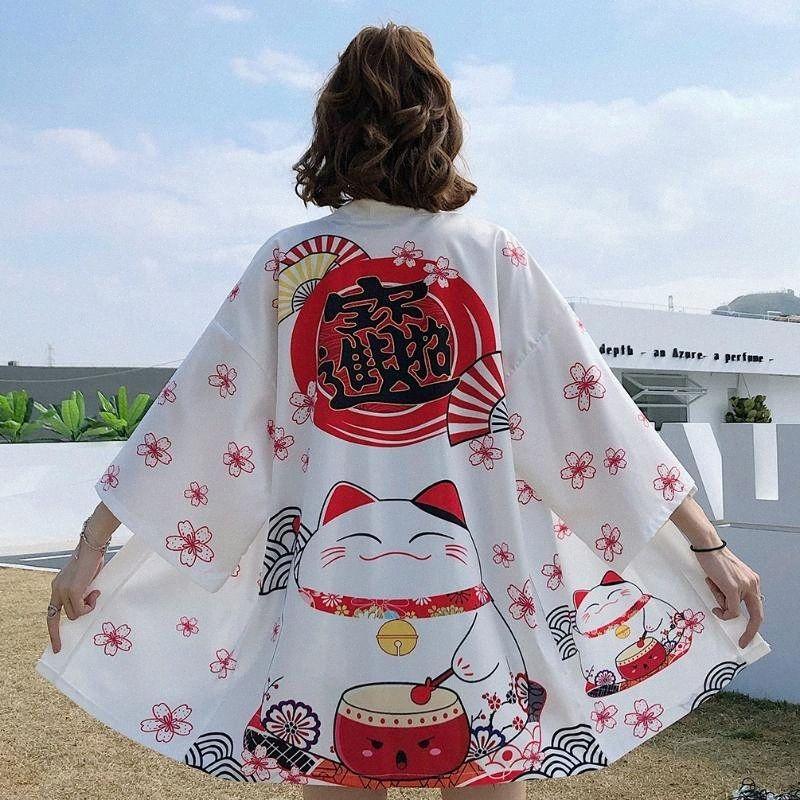 Carino giapponese Lucky Cat Stampa Kimono cardigan femminile allentato Shirt Top Beach cappotto casuale Donne Kimono estate camicetta 6Nwk #