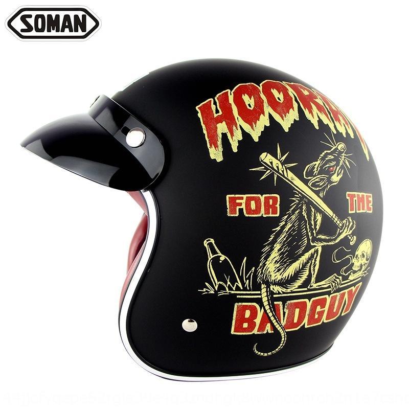 Casque de moto Hot Type Vente classique électrique prince sécurité casque moitié des hommes et des femmes été la sécurité Harley moto QvjT0