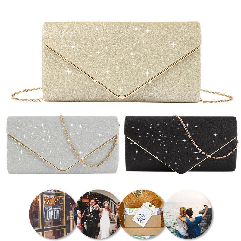 Kadınlar Omuz çantaları 2020 Parlak Kadınlar Çanta Zarf Debriyaj Moda Glitter Bayan Gelinlik Çantaları Çanta Vintage Akşam Çanta