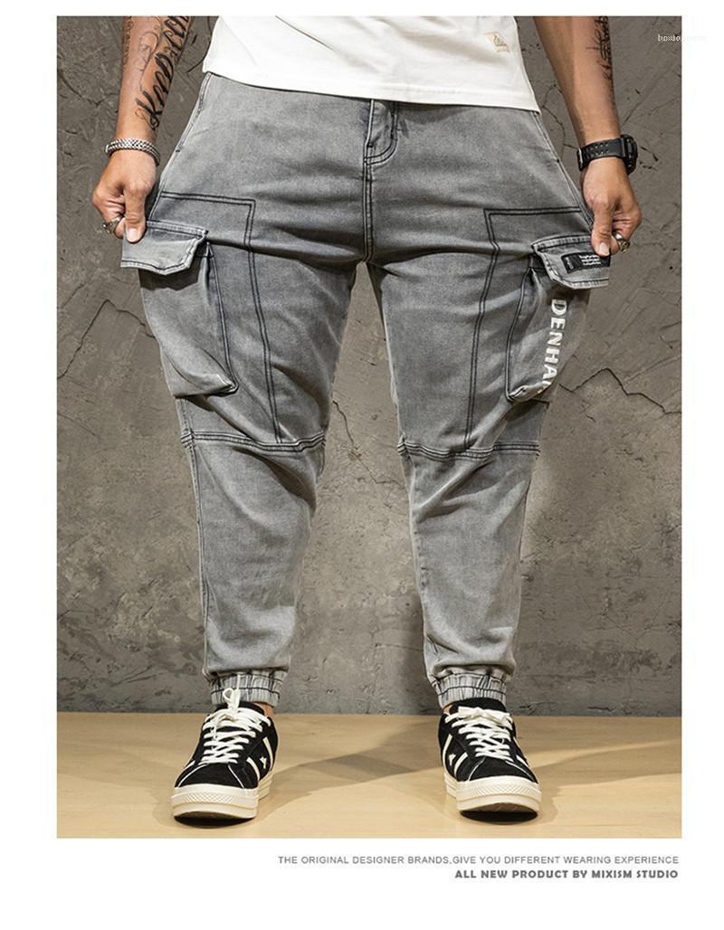 Tasche Jean Hip Hop-Bleistift-Hosen Männlich Kleidung Plus Size Herren Designer Jeans Frühlings-Sommer-loser Multi