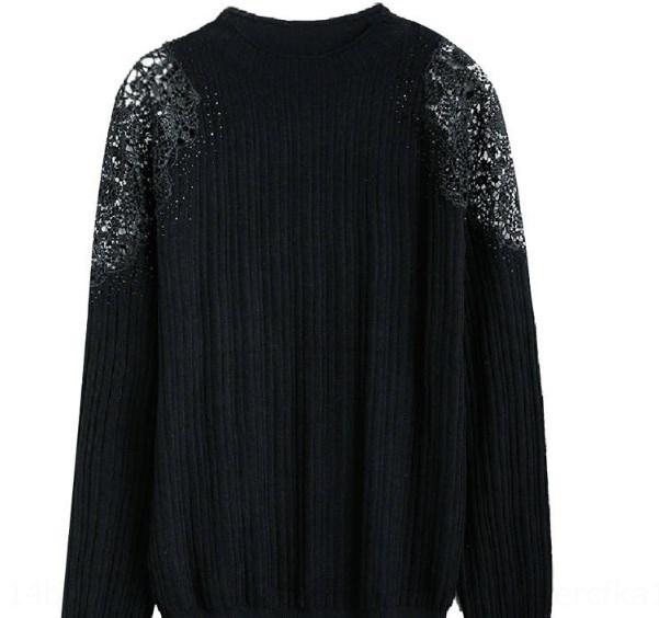 6Jsvs 1d8TS de mangas compridas bottoming 2019 Top slim fit top preto T-shirt de malha camisa do laço das mulheres outono e inverno nova renda para mulheres