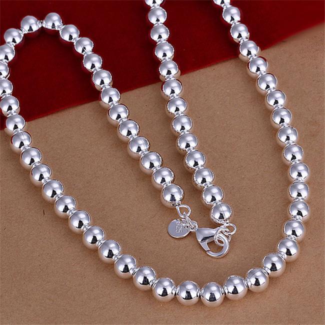 Тяжелое 75g 8MM бисер ожерелье мужских моделей твердой никелированного ожерелья стерлингового серебро STSN111A, способ 925 серебряных цепи ожерелье фабрики продажи