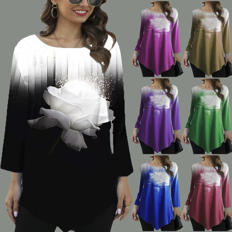Women Flower Printed T Shirt Stretch Loose Irregular Casual Tops Plus Size 4XL 5XL 2020 Spring Street Fashion Ladies Tee Shirt