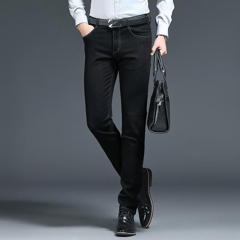 calças dos homens retos 2019 negócio ocasional puros calças casuais jeans e jeans stretch algodão primavera-coreano das 02mhN Novos homens