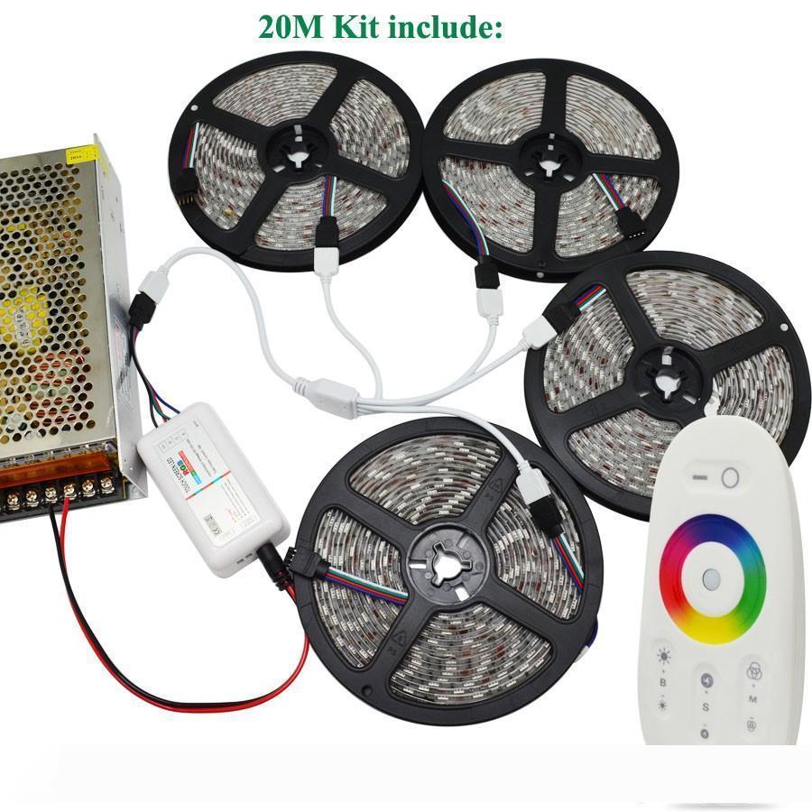 DC12V SMD 5050 striscia principale RGB 60led m flessibile nastro 5M 10m 15M 20M + RF Remote Touch adattatore elettrica + del regolatore
