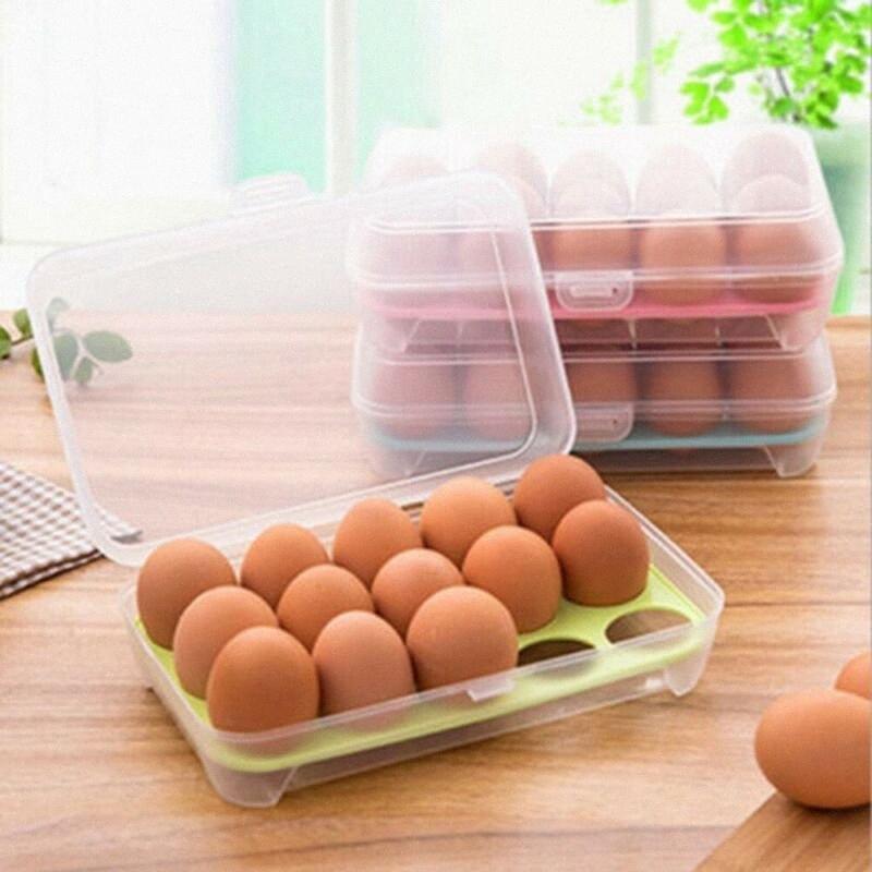15 cuadrículas almacenamiento de huevos Cartón de huevos caja del organizador del sostenedor de la caja del envase dispensador Inicio iEPJ #
