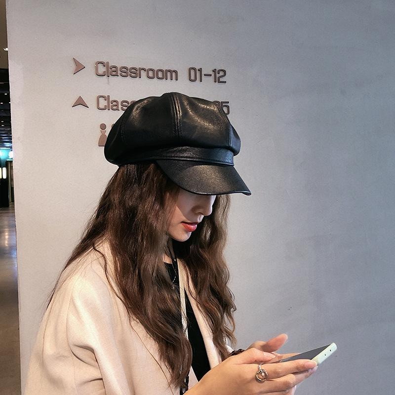 G8DI5 Sonbahar ve Kış Kore Ressam hatberet sekizgen hatstyle İngiliz ressam şapka moda bir internet kırmızı sekizgen şapka Japon pu deri