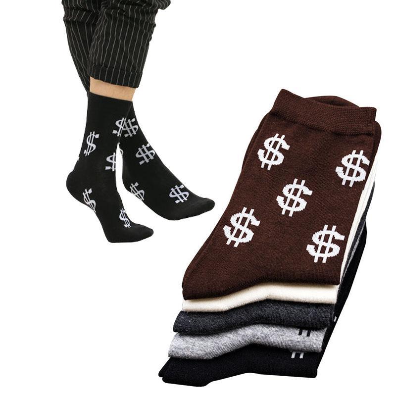 10pcs = 5Pairs / çok Yenilik Erkekler Uzun Çorap Harajuku Para Doları Desen Çorap Komik Karikatür Çorap Saf Pamuk Şık Erkekler